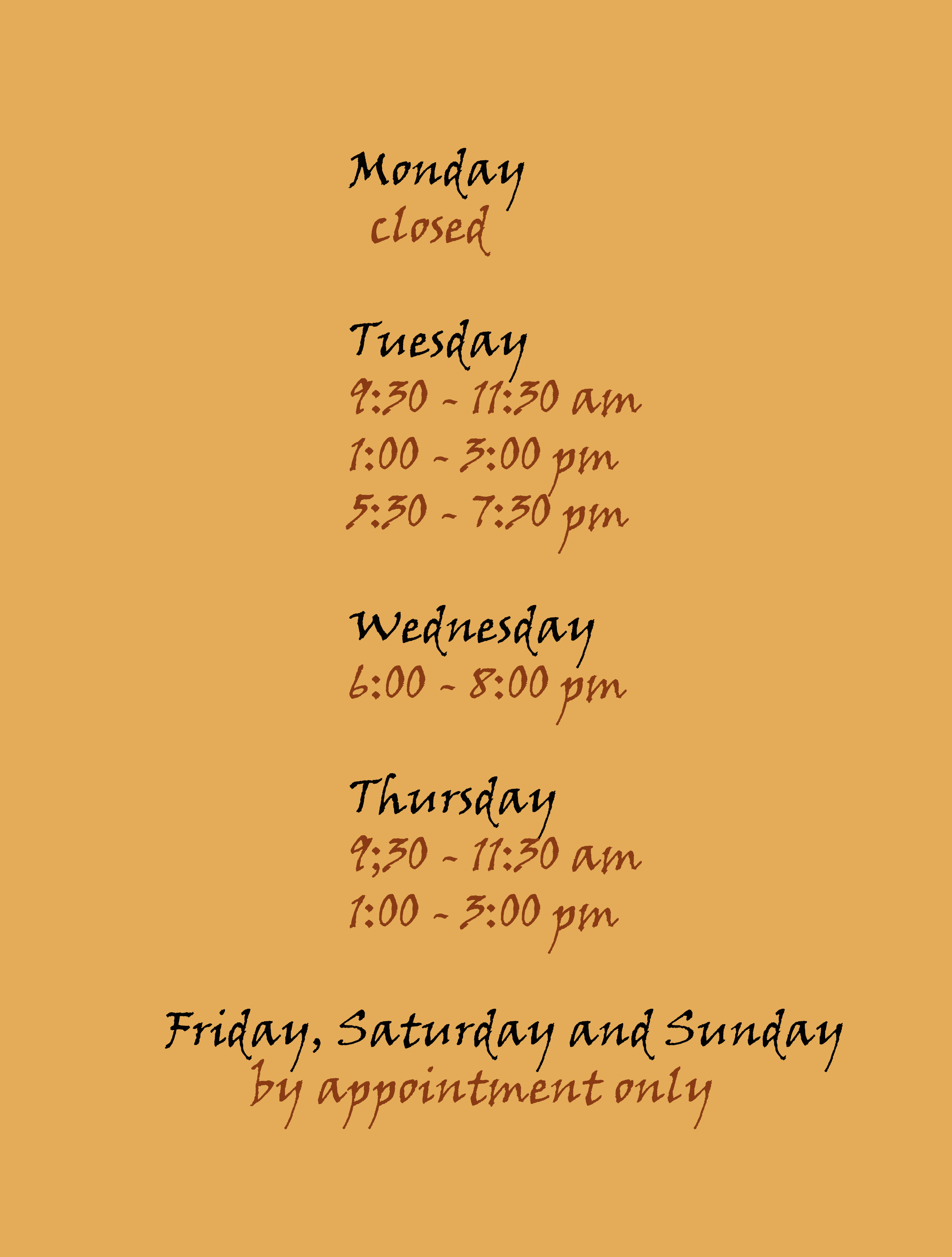 New Hours 3.8.2018